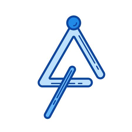 白い背景で隔離する三角形の楽器したベクトル線アイコンでは。インフォ グラフィック、ウェブサイトまたはアプリ青の三角形の楽器線アイコン ア  イラスト・ベクター素材