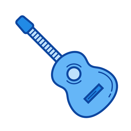 Acoustic guitar vector line icon isolated on white background. Acoustic guitar line icon for infographic, website or app. Blue icon designed on a grid system.