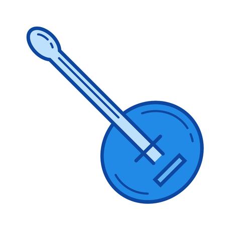 バンジョー ベクトル線のアイコンが白い背景で隔離。インフォ グラフィック、ウェブサイトまたはアプリ青のバンジョー線アイコン アイコンのグリッド システムで設計されています。