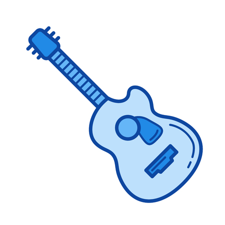 Jazz guitar vector line icon isolated on white background. Jazz guitar line icon for infographic, website or app. Blue icon designed on a grid system.