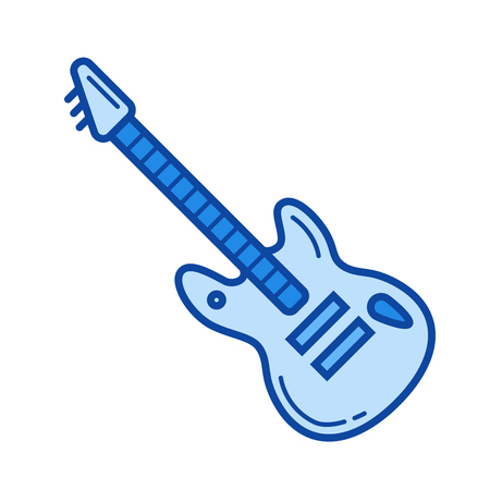 Rock guitar vector line icon isolated on white background. Rock guitar line icon for infographic, website or app. Blue icon designed on a grid system.