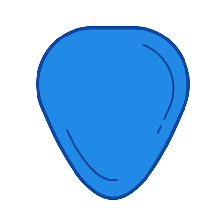 Guitar pick vector line icon isolated on white background. Guitar pick line icon for infographic, website or app. Blue icon designed on a grid system.