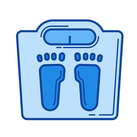 浴室スケール ベクトル線のアイコンが白い背景で隔離。インフォ グラフィック、ウェブサイトまたはアプリ ブルーのバスルーム スケール ライン   イラスト・ベクター素材