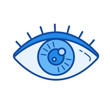shortsighted: Human eye vector line icon isolated on white background. Illustration