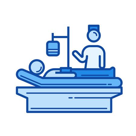 흰색 배경에 고립 간호 벡터 라인 아이콘입니다. 인포 그래픽, 웹 사이트 또는 앱의 간호 라인 아이콘. 그리드 시스템에서 설계된 파란색 아이콘.
