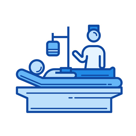 Icono de línea de vector de enfermería aislado sobre fondo blanco. Icono de línea de enfermería para infografía, sitio web o aplicación. Icono azul diseñado en un sistema de cuadrícula.