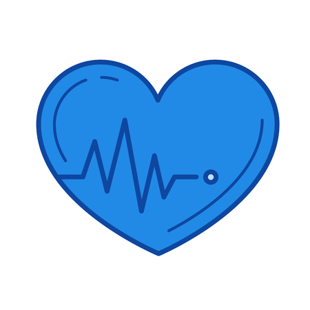 Heartbeat vector line icon isolated on white background. Heartbeat line icon for infographic, website or app. Blue icon designed on a grid system.