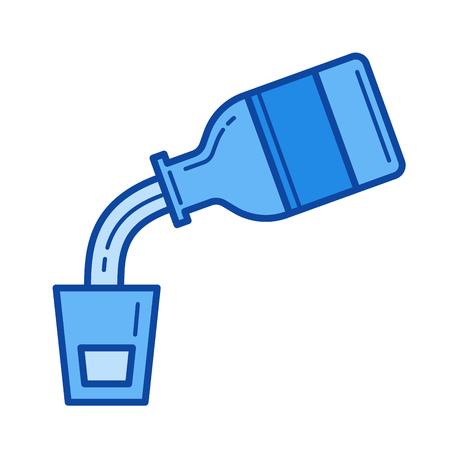 Medische stroop vector lijn pictogram geïsoleerd op een witte achtergrond. Medische stroop lijn pictogram voor infographic, website of app. Blauw pictogram ontworpen op een rastersysteem. Stock Illustratie