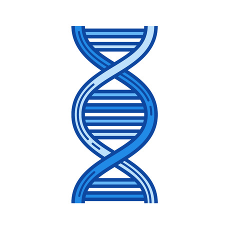 DNA vector line icon isolated on white background. DNA line icon for infographic, website or app. Blue icon designed on a grid system.