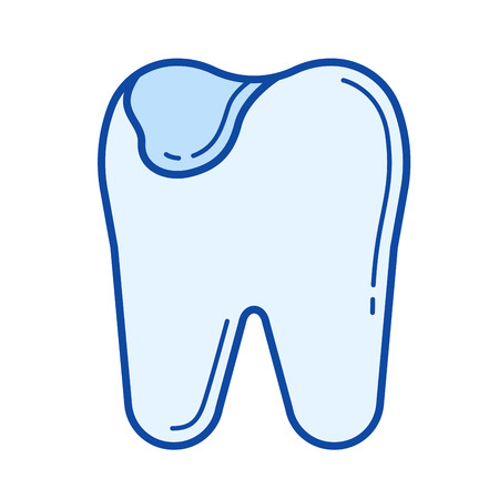 crumbling: Tooth caries vector line icon isolated on white background. Tooth caries line icon for infographic, website or app. Blue icon designed on a grid system.