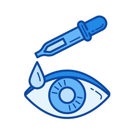 Druppelaar oog vector lijn pictogram geïsoleerd op een witte achtergrond. Oog druppelaar lijn pictogram voor infographic, website of app. Blauw pictogram ontworpen op een rastersysteem.