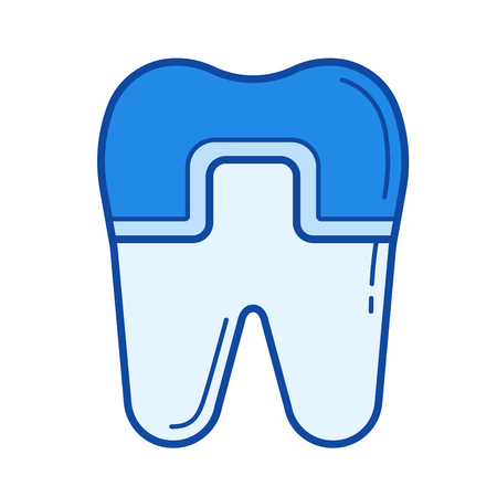 Filled tooth vector line icon isolated on white background. Filled tooth line icon for infographic, website or app. Blue icon designed on a grid system.
