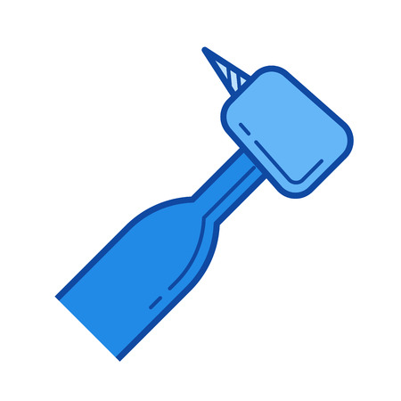 Dental drill vector line icon isolated on white background. Dental drill line icon for infographic, website or app. Blue icon designed on a grid system.