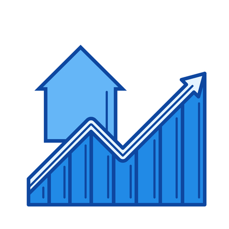 Real estate market growth vector line icon isolated on white background. Real estate market growth line icon for infographic, website or app. Blue icon designed on a grid system.
