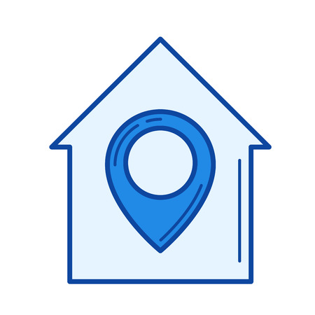 drawing pin: House location vector line icon isolated on white background. House location line icon for infographic, website or app. Blue icon designed on a grid system.