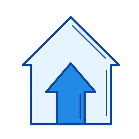 Real estate price vector line icon isolated on white background. Real estate price line icon for infographic, website or app. Blue icon designed on a grid system. Illustration