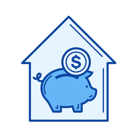Real estate investment vector line icon isolated on white background. Real estate investment line icon for infographic, website or app. Blue icon designed on a grid system.