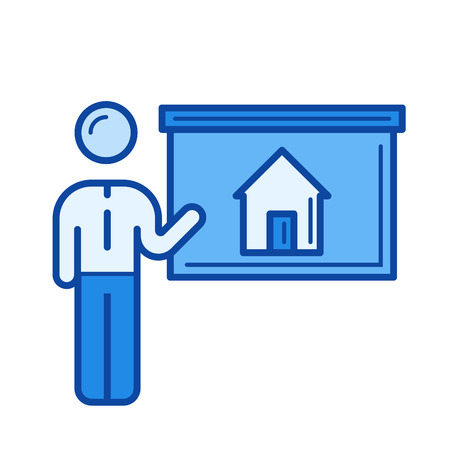 House presentation vector line icon isolated on white background. House presentation line icon for infographic, website or app. Blue icon designed on a grid system.