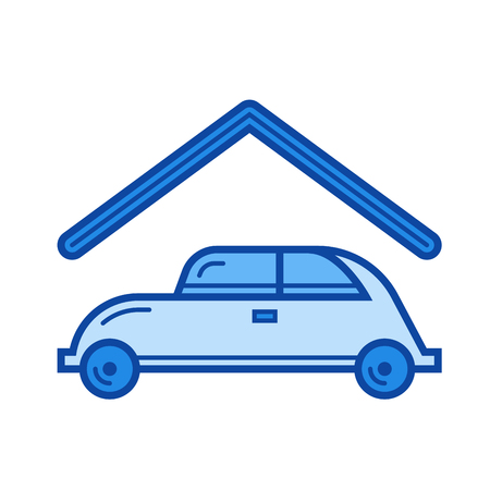 Parking place vector line icon isolated on white background. Parking place line icon for infographic, website or app. Blue icon designed on a grid system.