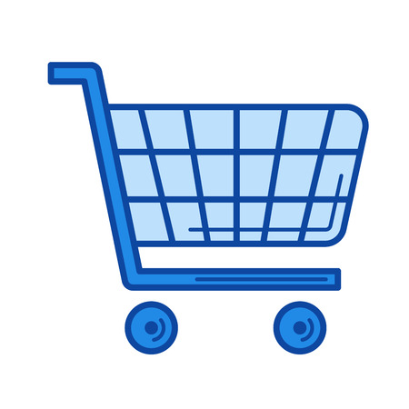 Shopping cart vector line icon isolated on white background. Shopping cart line icon for infographic, website or app. Blue icon designed on a grid system.