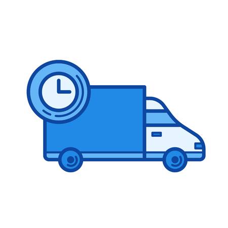 Fast delivery vector line icon isolated on white background. Fast delivery line icon for infographic, website or app. Blue icon designed on a grid system. Illustration