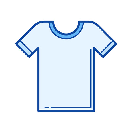T-shirt vector line icon isolated on white background. T-shirt line icon for infographic, website or app. Blue icon designed on a grid system. Illustration