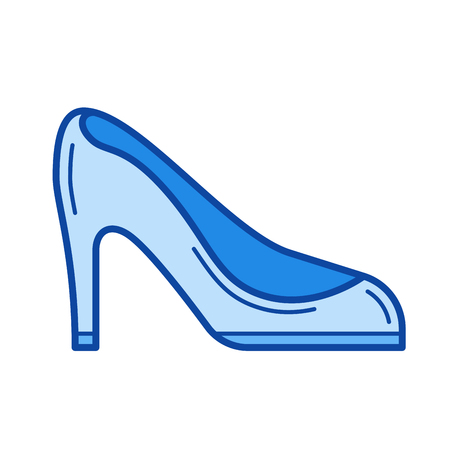 Woman shoes vector line icon isolated on white background. Woman shoes line icon for infographic, website or app. Blue icon designed on a grid system. Illustration