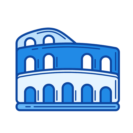 Colosseum vector line icon isolated on white background. Colosseum line icon for infographic, website or app. Blue icon designed on a grid system. Illustration