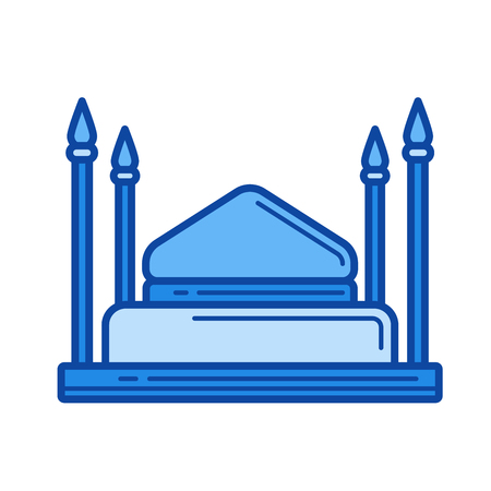 Mosque vector line icon isolated on white background. Mosque line icon for infographic, website or app. Blue icon designed on a grid system.