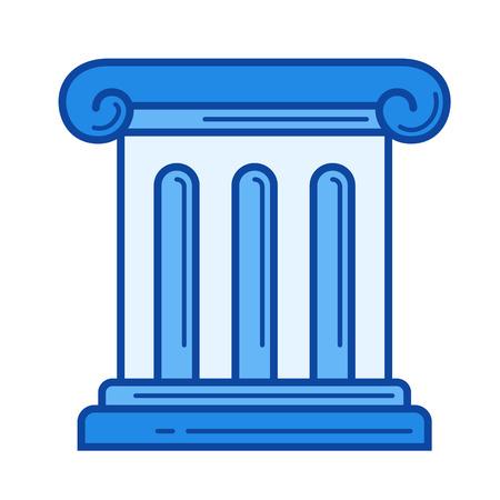 골동품 열 벡터 줄 아이콘을 흰색 배경에 고립. infographic, 웹 사이트 또는 응용 프로그램에 대 한 골동품 열 선 아이콘. 그리드 시스템에서 설계된 파란
