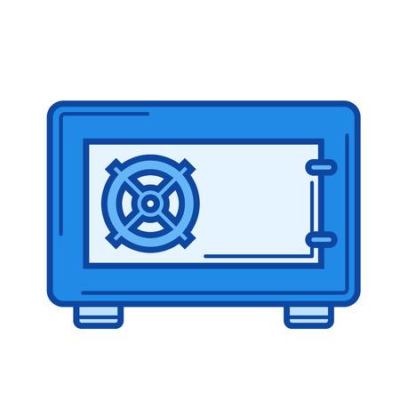 보안 안전 벡터 줄 아이콘을 흰색 배경에 고립. infographic, 웹 사이트 또는 응용 프로그램에 대한 보안 안전 선 아이콘. 그리드 시스템에서 설계된 파란