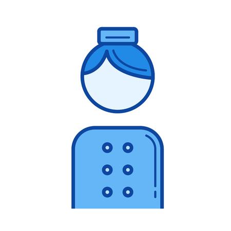 Porter Vektor Liniensymbol isoliert auf weißem Hintergrund. Porter Liniensymbol für Infografik, Website oder App. Blaue Ikone, die auf einem Rastersystem entworfen wird. Vektorgrafik
