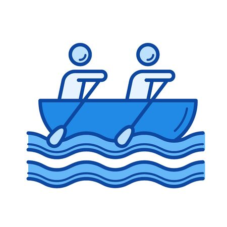 Canoe rowing vector line icon isolated on white background. Canoe rowing line icon for infographic, website or app. Blue icon designed on a grid system.