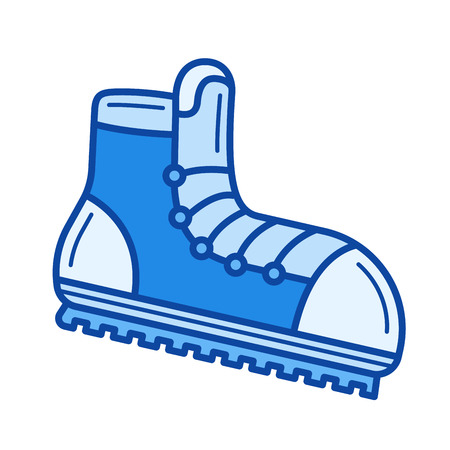 Mountaineering boots vector line icon isolated on white background. Mountaineering boots line icon for infographic, website or app. Blue icon designed on a grid system.