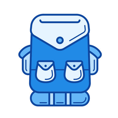 Tourist backpack vector line icon isolated on white background. Tourist backpack line icon for infographic, website or app. Blue icon designed on a grid system.