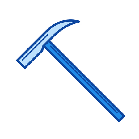 Ice ax vector line icon isolated on white background. Ice ax line icon for infographic, website or app. Blue icon designed on a grid system. Illustration