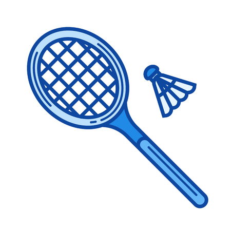 Badminton vector line icon isolated on white background. Badminton line icon for infographic, website or app. Blue icon designed on a grid system. Illustration