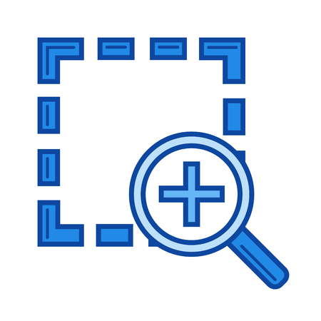 Zoom in vector line icon isolated on white background. Zoom in line icon for infographic, website or app. Blue icon designed on a grid system.