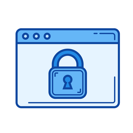 web browser: Padlock vector line icon isolated on white background. Padlock line icon for infographic, website or app. Blue icon designed on a grid system. Illustration
