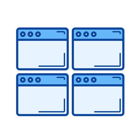 web browser: Multiple webpage vector line icon isolated on white background. Multiple webpage line icon for infographic, website or app. Blue icon designed on a grid system.