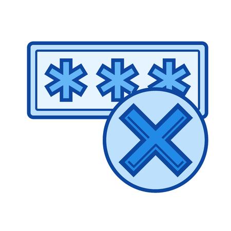 Acceso negado icono de línea de vector aislado sobre fondo blanco. Acceso denegado icono de línea para infografía, sitio web o aplicación. Icono azul diseñado en un sistema de cuadrícula. Foto de archivo - 84743554