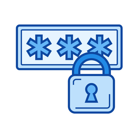 Internet security vector line icon isolated on white background. Internet security line icon for infographic, website or app. Blue icon designed on a grid system.