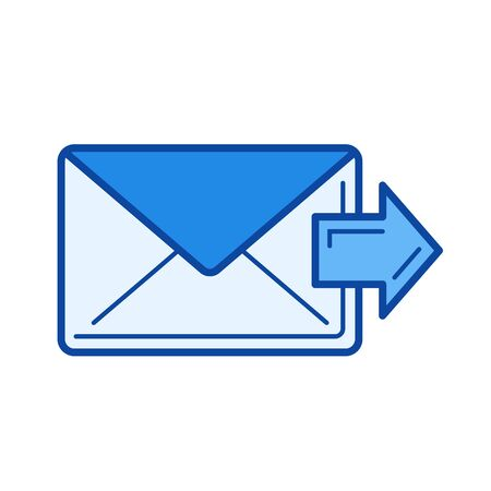 Forward email vector line icon isolated on white background. Forward email line icon for infographic, website or app. Blue icon designed on a grid system. Illustration