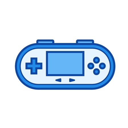 handheld device: Gamepad vector line icon isolated on white background. Gamepad line icon for infographic, website or app. Blue icon designed on a grid system.