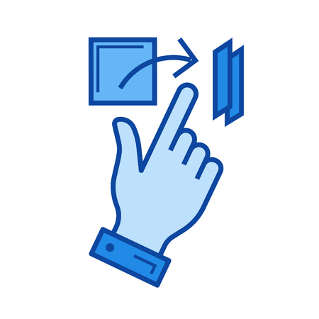 flick: Flick vector line icon isolated on white background. Flick line icon for infographic, website or app. Blue icon designed on a grid system.