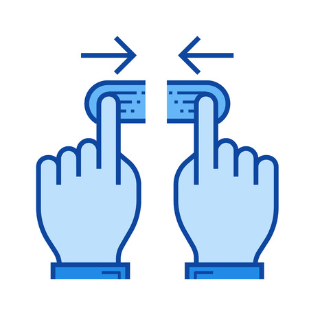 Two hand unpinch vector line icon isolated on white background. Two hand unpinch line icon for infographic, website or app. Blue icon designed on a grid system.