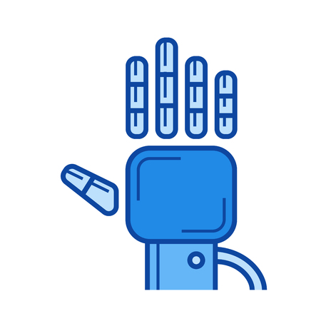 Tracking glove vector line icon isolated on white background. Tracking glove line icon for infographic, website or app. Blue icon designed on a grid system. Illustration