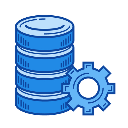 install: Database configuration vector line icon isolated on white background. Database configuration line icon for infographic, website or app. Blue icon designed on a grid system. Illustration
