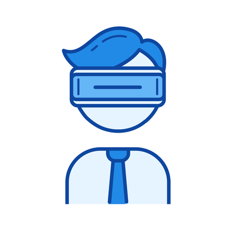Virtual reality headset vector line icon isolated on white background. Virtual reality headset line icon for infographic, website or app. Blue icon designed on a grid system. Ilustração
