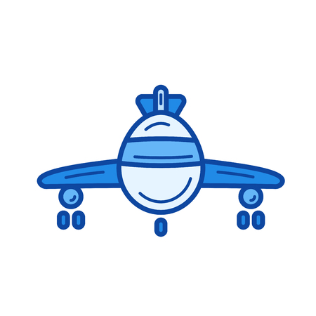 Airplane vector line icon isolated on white background. Airplane line icon for infographic, website or app. Blue icon designed on a grid system.